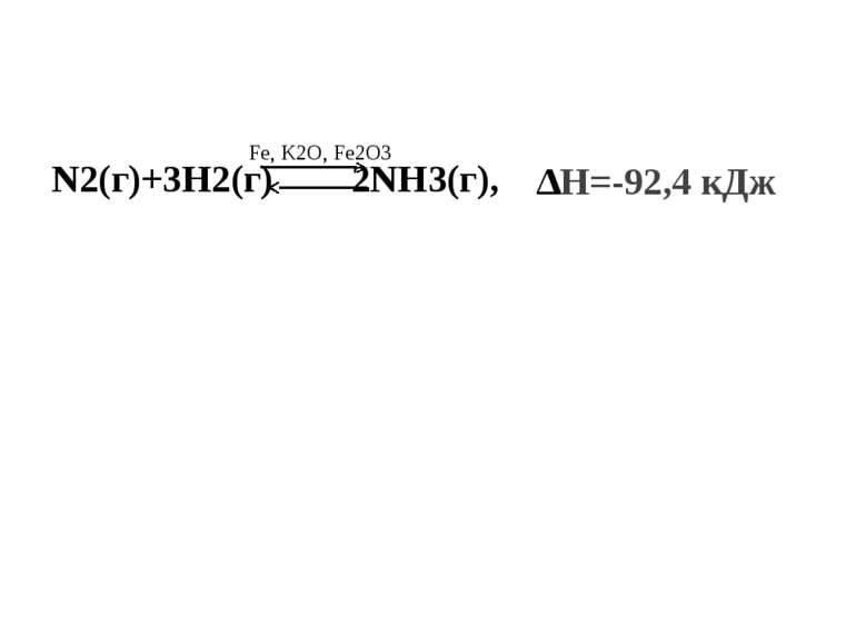 N2(г)+3H2(г) 2NH3(г), ∆Н=-92,4 кДж Fe, K2O, Fe2O3