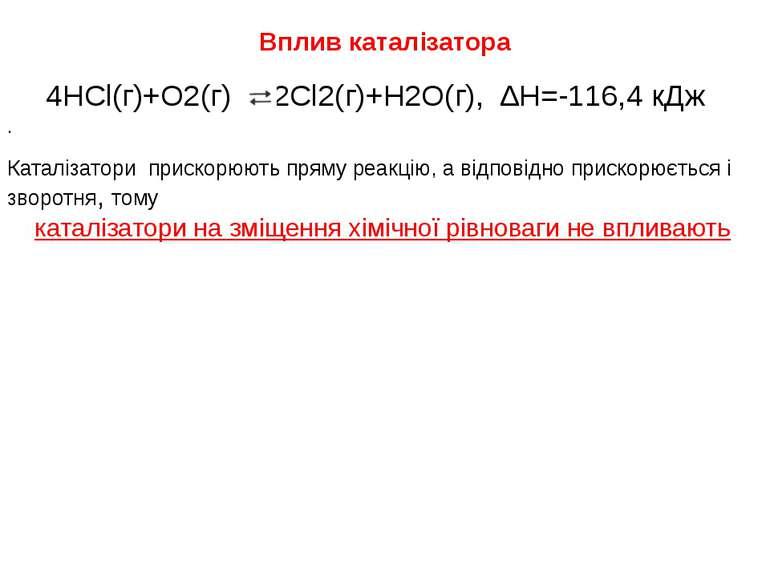 Вплив каталізатора 4HCl(г)+O2(г) 2Cl2(г)+H2O(г), ∆Н=-116,4 кДж . Каталізатори...