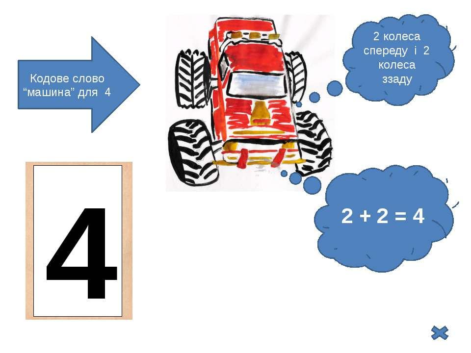 "2 колеса спереду і 2 колеса ззаду 2 + 2 = 4 Кодове слово ""машина"" для 4 4"