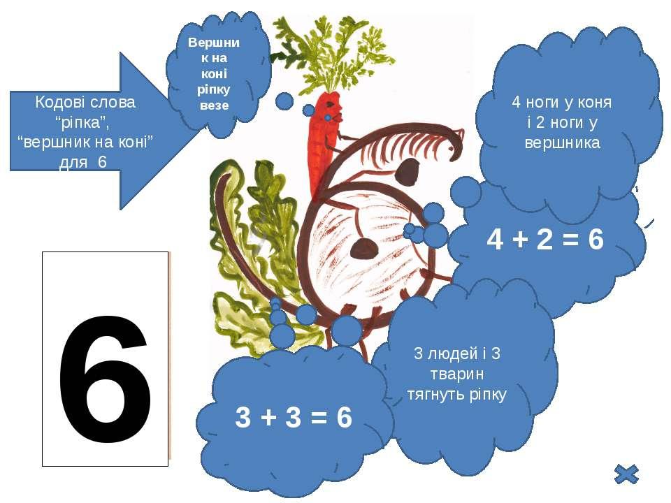 """Кодові слова """"ріпка"""", """"вершник на коні"""" для 6 6 4 + 2 = 6 3 людей і 3 тварин ..."""