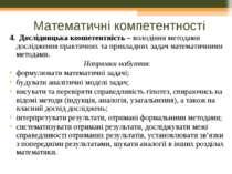Математичні компетентності 4. Дослідницька компетентність – володіння методам...