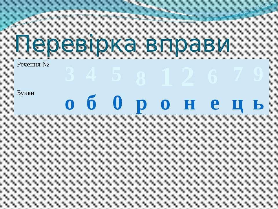Перевірка вправи 3 о 4 б 5 0 8 р 1 о 2 н 6 е 7 ц 9 ь Речення № Букви