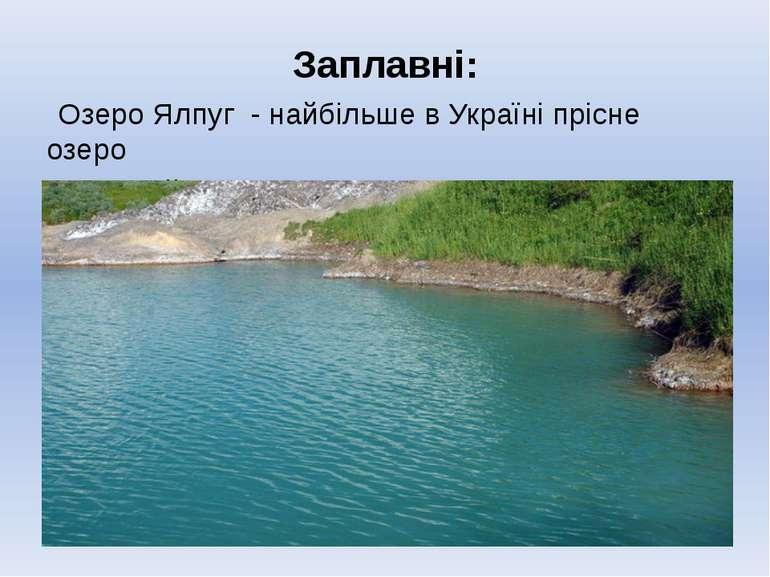 Заплавні: Озеро Ялпуг - найбільше в Україні прісне озеро в нижній течії Дунаю.
