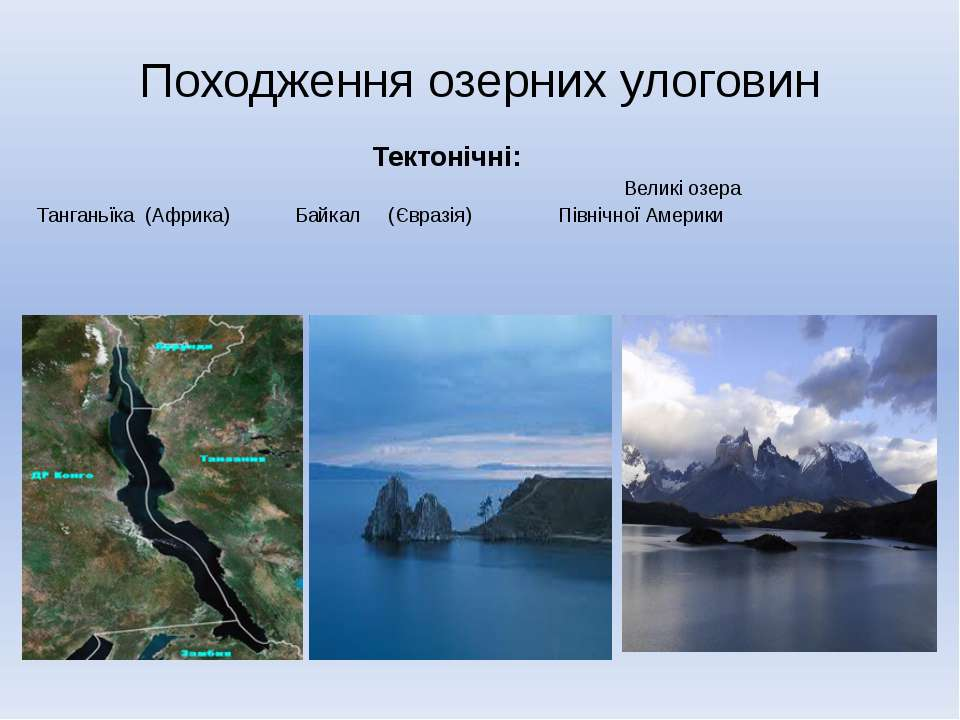 Походження озерних улоговин Тектонічні: Великі озера Танганьїка (Африка) Байк...