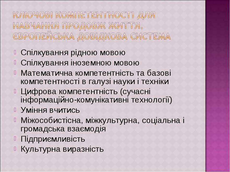 Спілкування рідною мовою Спілкування іноземною мовою Математична компетентніс...