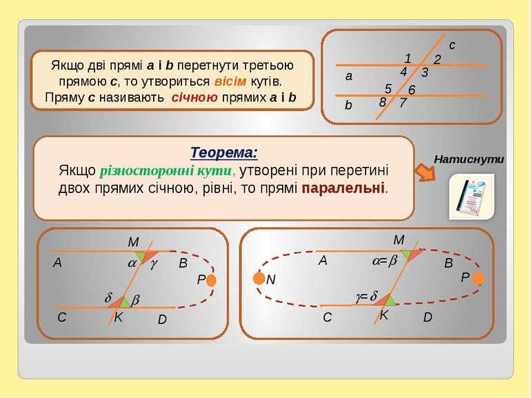 Теорема: Якщо різносторонні кути, утворені при перетині двох прямих січною, р...