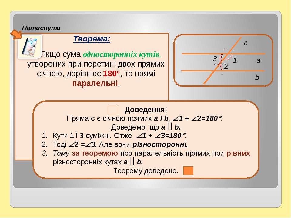 Теорема: Якщо сума односторонніх кутів, утворених при перетині двох прямих сі...