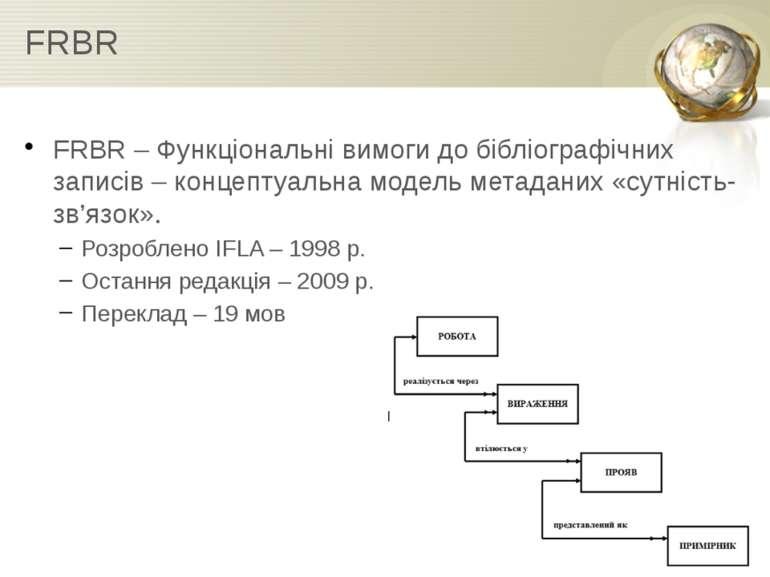 FRBR FRBR – Функціональні вимоги до бібліографічних записів – концептуальна м...