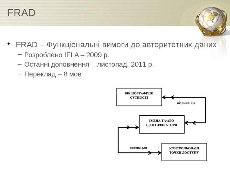 FRAD FRAD – Функціональні вимоги до авторитетних даних Розроблено IFLA – 2009...