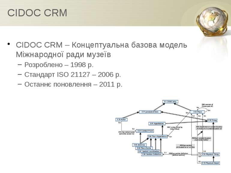 CIDOC CRM CIDOC CRM – Концептуальна базова модель Міжнародної ради музеїв Роз...
