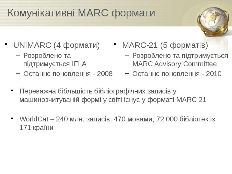 Комунікативні MARC формати UNIMARC (4 формати) Розроблено та підтримується IF...