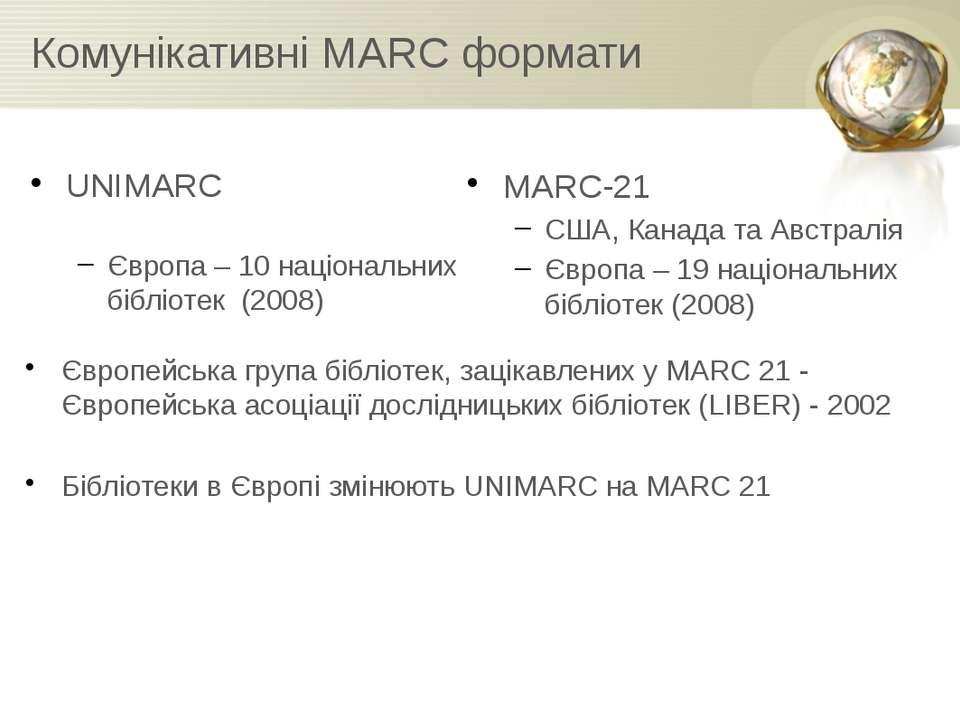 Комунікативні MARC формати UNIMARC Європа – 10 національних бібліотек (2008) ...