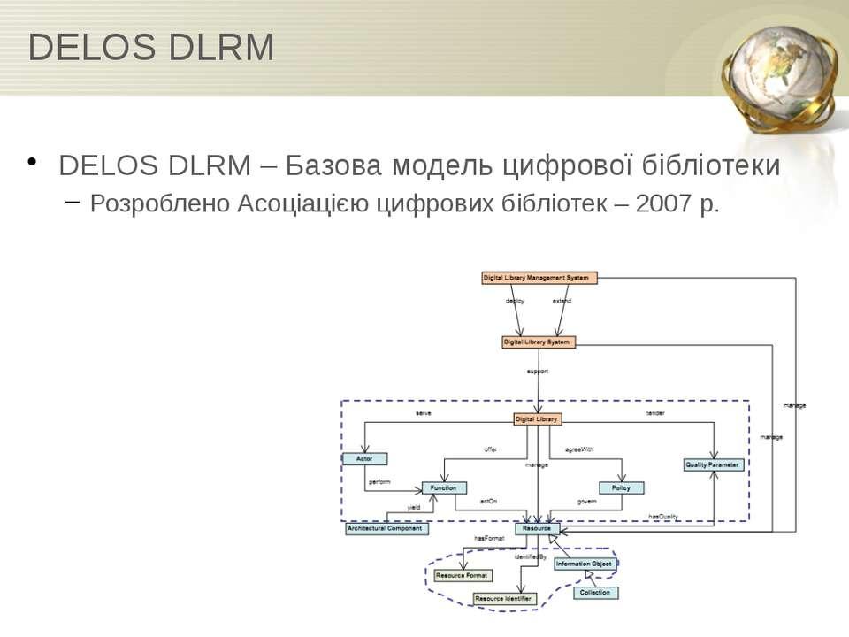 DELOS DLRM DELOS DLRM – Базова модель цифрової бібліотеки Розроблено Асоціаці...