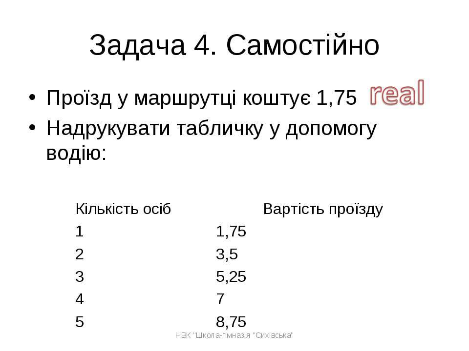Задача 4. Самостійно Проїзд у маршрутці коштує 1,75 Надрукувати табличку у до...