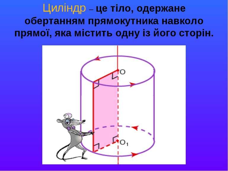 Циліндр – це тіло, одержане обертанням прямокутника навколо прямої, яка місти...