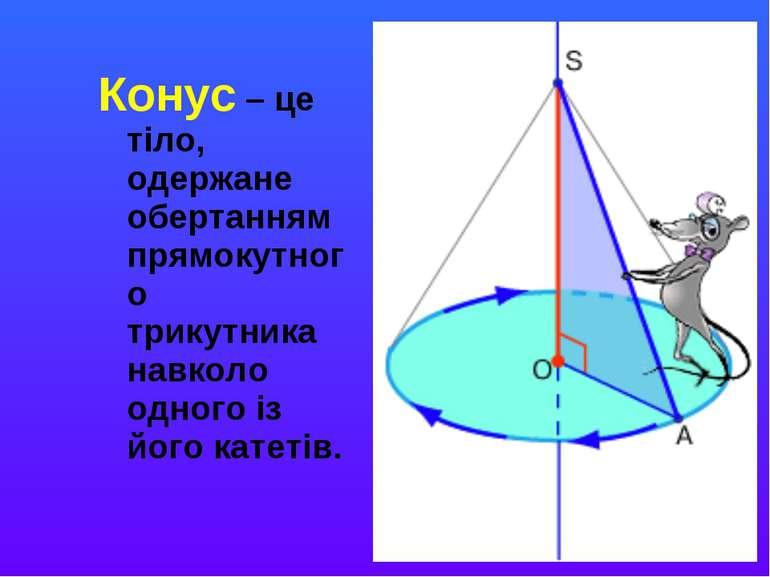 Конус – це тіло, одержане обертанням прямокутного трикутника навколо одного і...