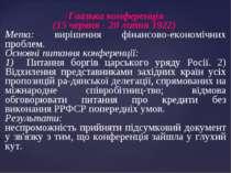 ·Гаазька конференція (15 червня - 20 липня 1922) Мета: вирішення фінансово-ек...