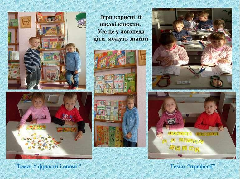 """Ігри корисні й цікаві книжки, Усе це у логопеда діти можуть знайти Тема: """" фр..."""