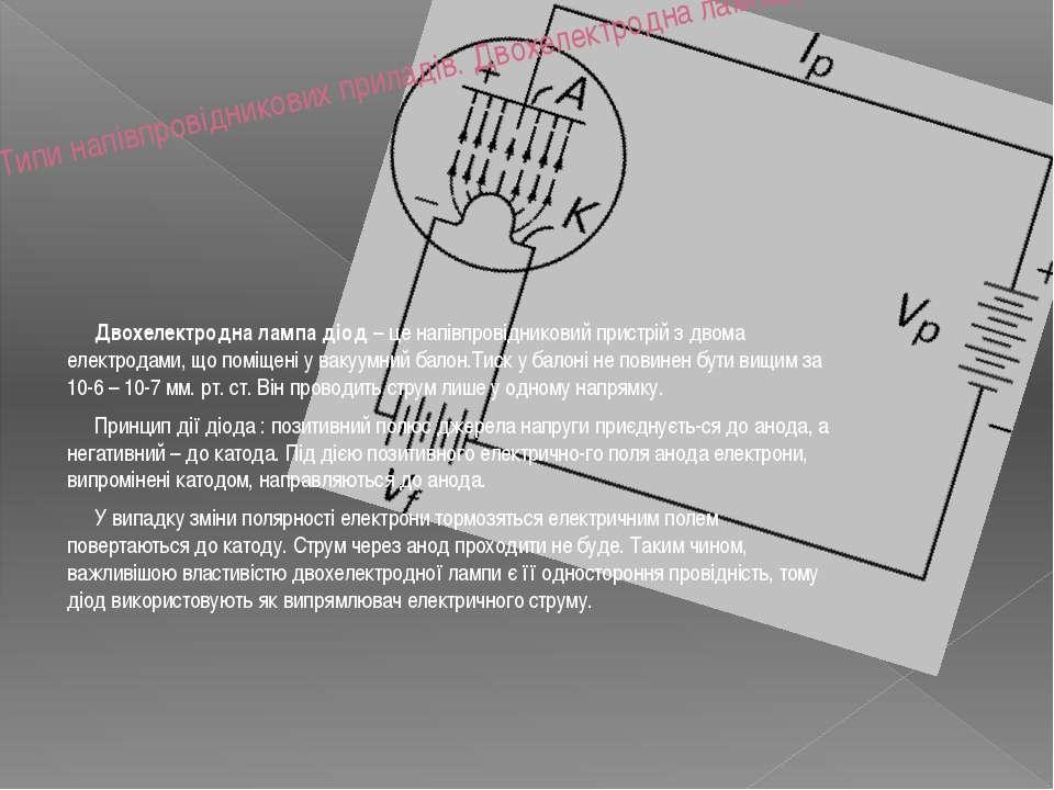 Типи напівпровідникових приладів. Двохелектродна лампадіод. Двохелектродна ла...