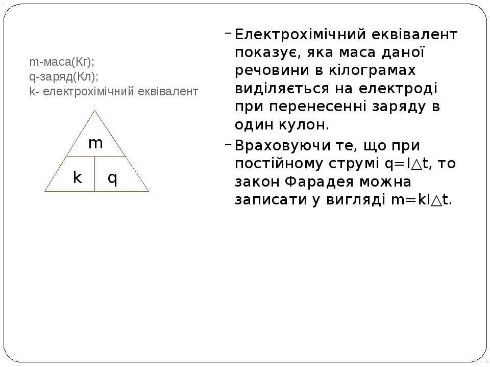 m-маса(Кг); q-заряд(Кл); k- електрохімічний еквівалент Електрохімічний еквіва...