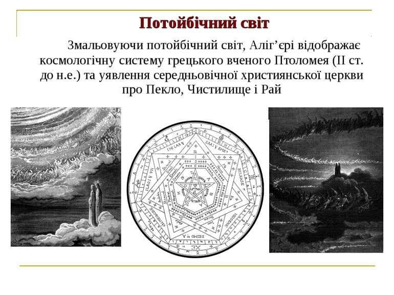 Потойбічний світ Змальовуючи потойбічний світ, Аліг'єрі відображає космологіч...