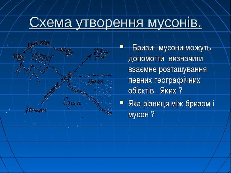 Схема утворення мусонів. Бризи і мусони можуть допомогти визначити взаємне ро...