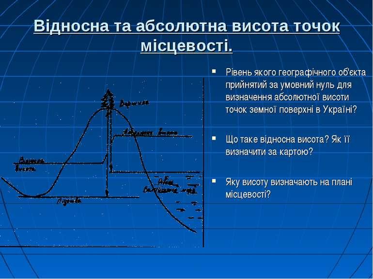 Відносна та абсолютна висота точок місцевості. Рівень якого географічного об'...