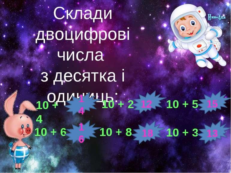 Склади двоцифрові числа з десятка і одиниць: 10 + 4 10 + 6 10 + 3 10 + 5 10 +...