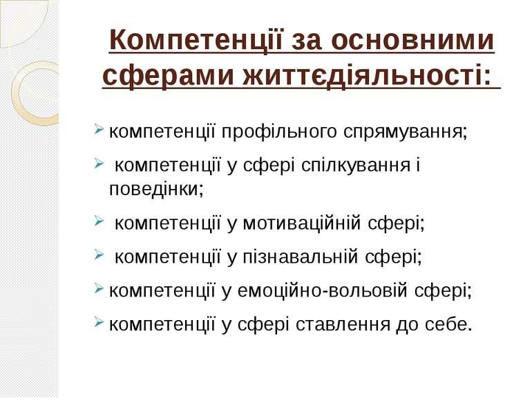 Компетенції за основними сферами життєдіяльності: компетенції профільного спр...