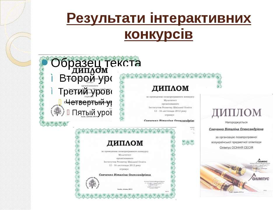 Результати інтерактивних конкурсів
