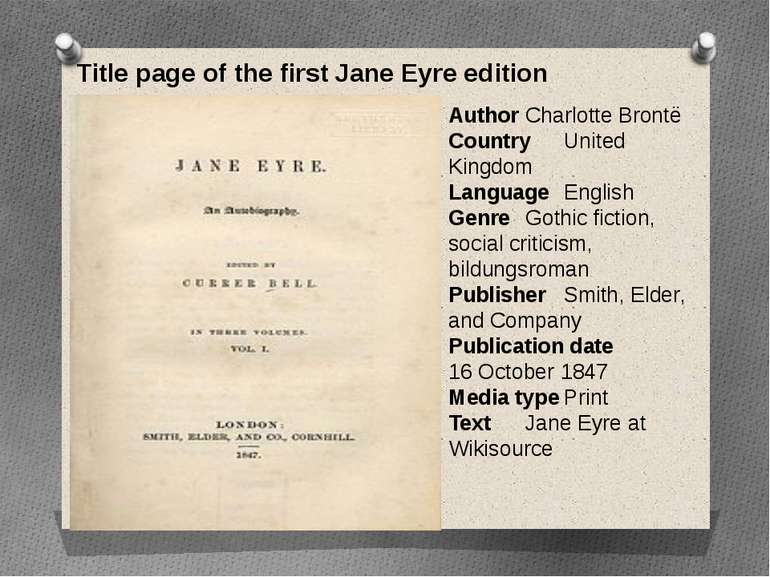 Title page of the first Jane Eyre edition Author Charlotte Brontë Country Uni...