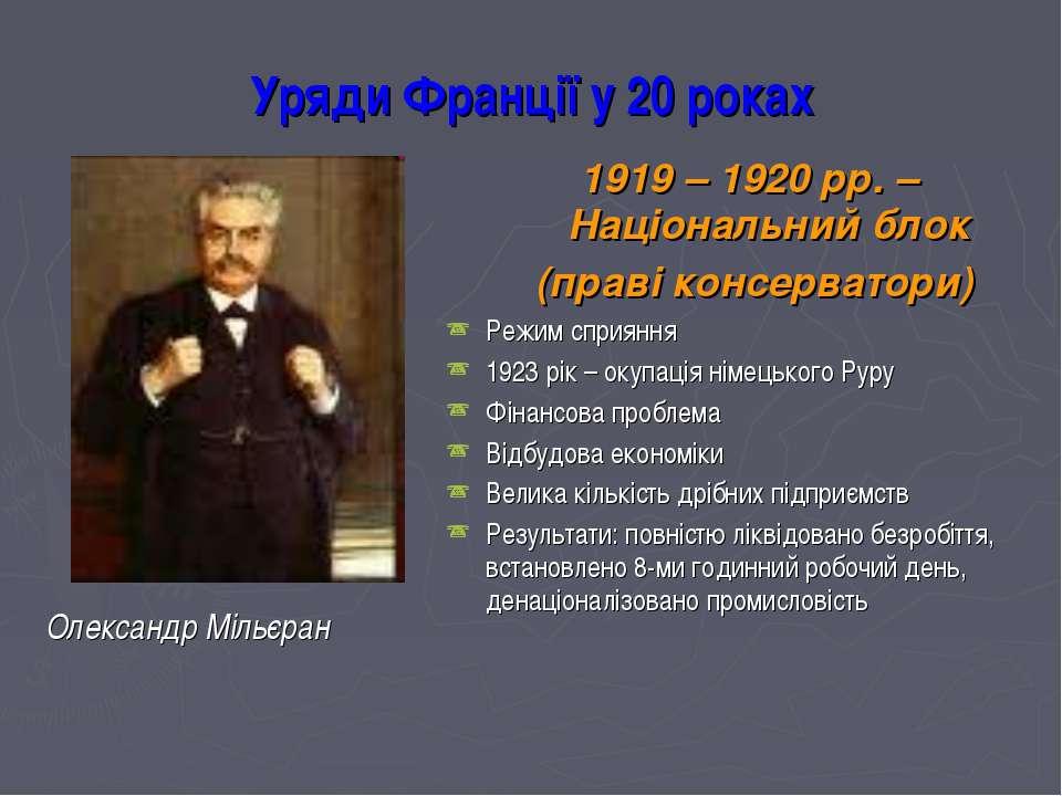 Уряди Франції у 20 роках Олександр Мільєран 1919 – 1920 рр. – Національний бл...