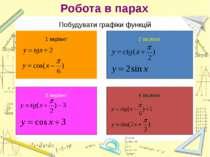 Робота в парах Побудувати графіки функцій 1 варіант 2 варіант 3 варіант 4 вар...