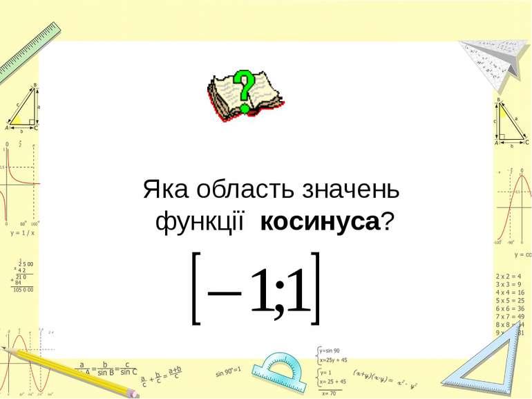 Яка область значень функції косинуса?