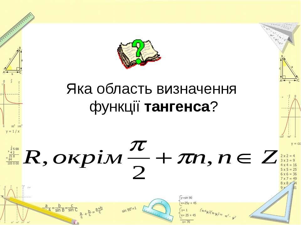 Яка область визначення функції тангенса?