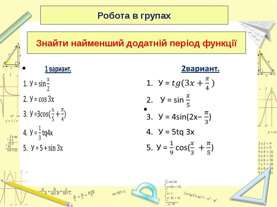 Робота в групах Знайти найменший додатній період функції