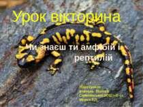 Урок вікторина Чи знаєш ти амфібій і рептилій Підготувала вчитель біології Се...