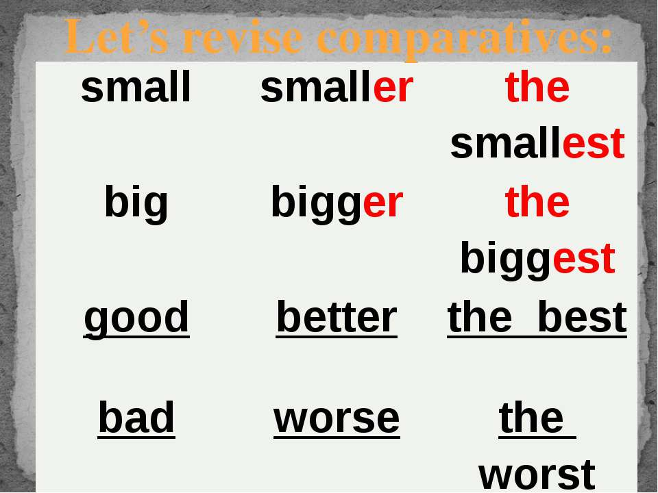 Let's revise comparatives: small smaller thesmallest big bigger thebiggest go...