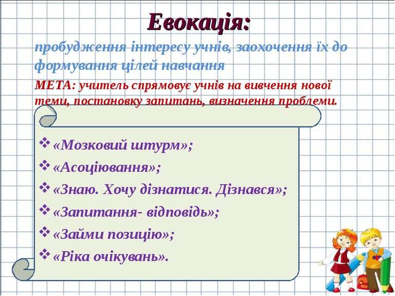 Евокація: «Мозковий штурм»; «Асоціювання»; «Знаю. Хочу дізнатися. Дізнався»; ...