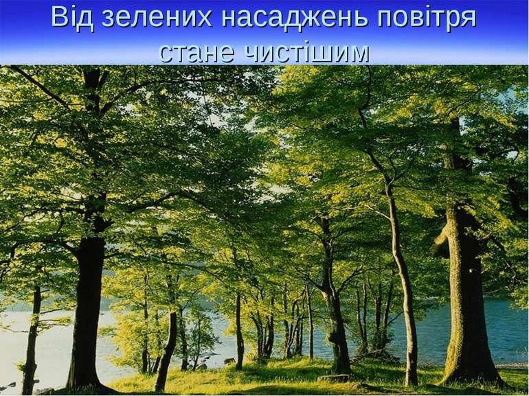 Від зелених насаджень повітря стане чистішим