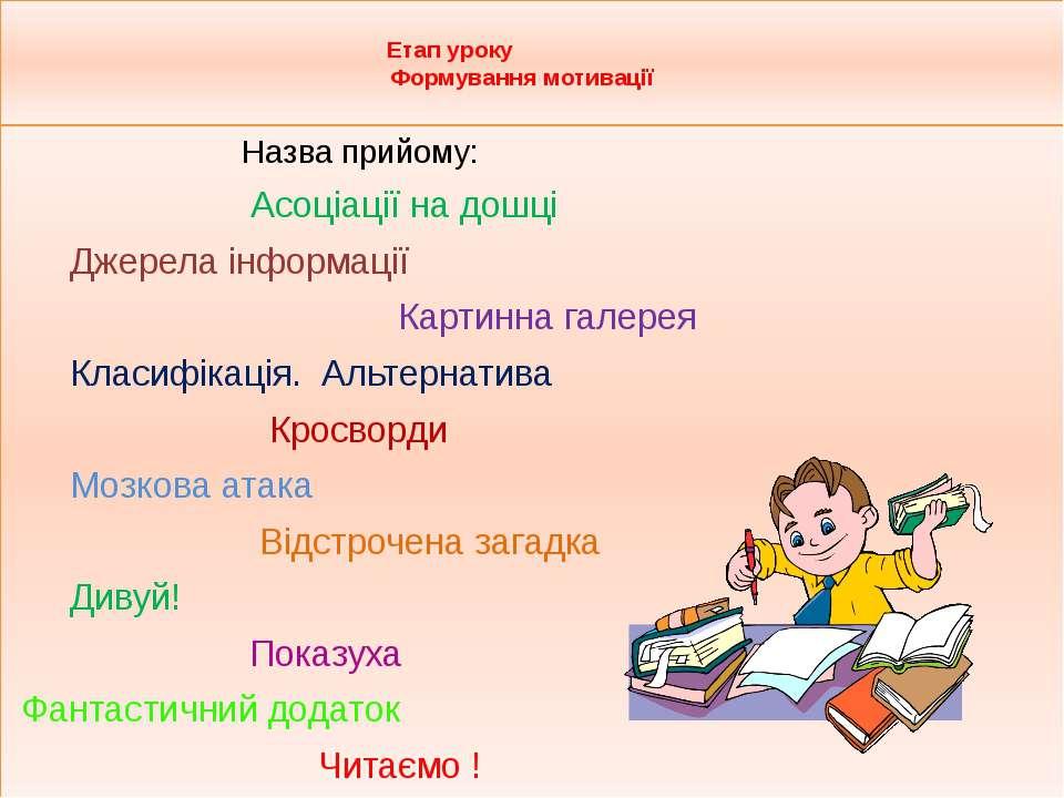 Етап уроку Формування мотивації Назва прийому: Асоціації на дошці Джерела і...