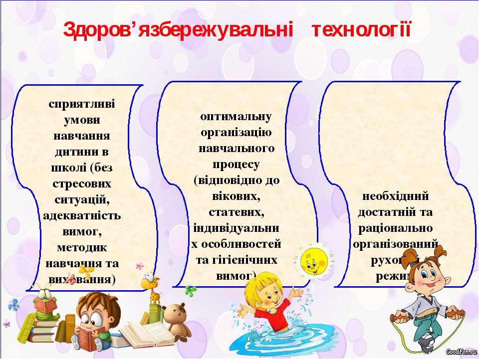 Здоров'язбережувальні технології сприятливі умови навчання дитини в школі (бе...
