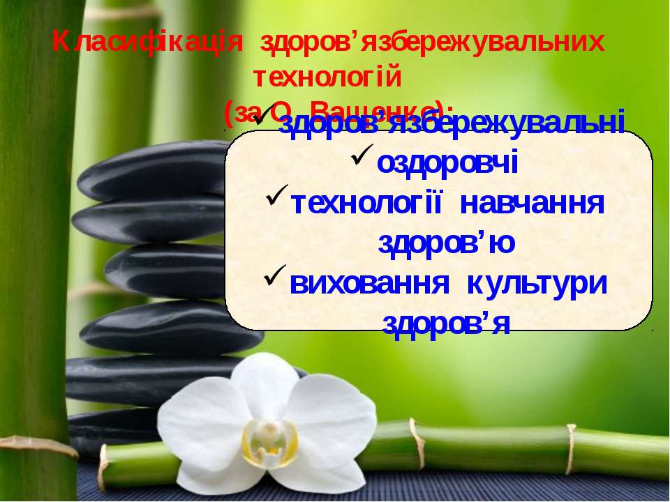 Класифікація здоров'язбережувальних технологій (за О. Ващенко): здоров'язбере...