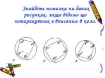 Знайдіть помилки на даних рисунках, якщо відомо що чотирикутник є вписаним в ...