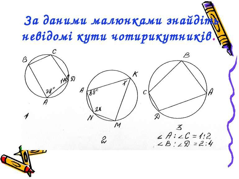 За даними малюнками знайдіть невідомі кути чотирикутників.