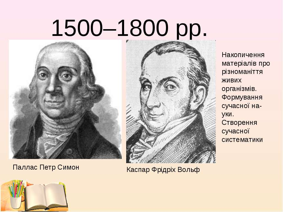 1500–1800 рр. ПалласПетр Симон Каспар Фрідріх Вольф Накопичення матеріалів п...