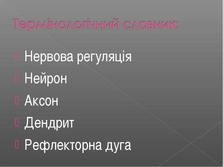 Нервова регуляція Нейрон Аксон Дендрит Рефлекторна дуга