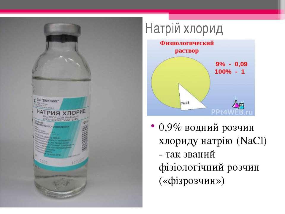 Натрій хлорид 0,9% водний розчин хлориду натрію (NaCl) - так званий фізіологі...