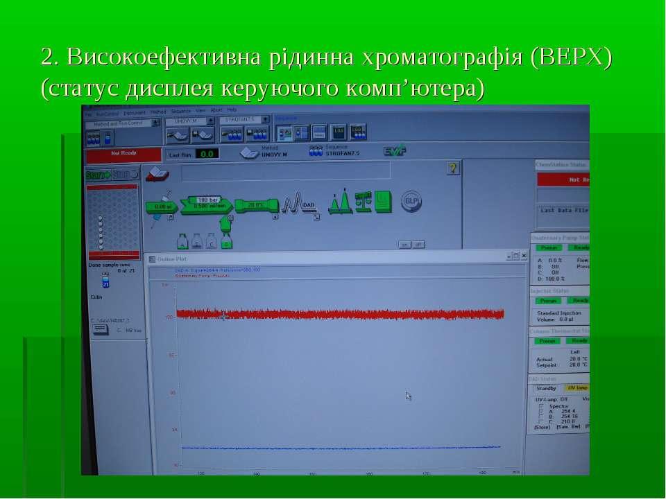 2. Високоефективна рідинна хроматографія (ВЕРХ) (статус дисплея керуючого ком...