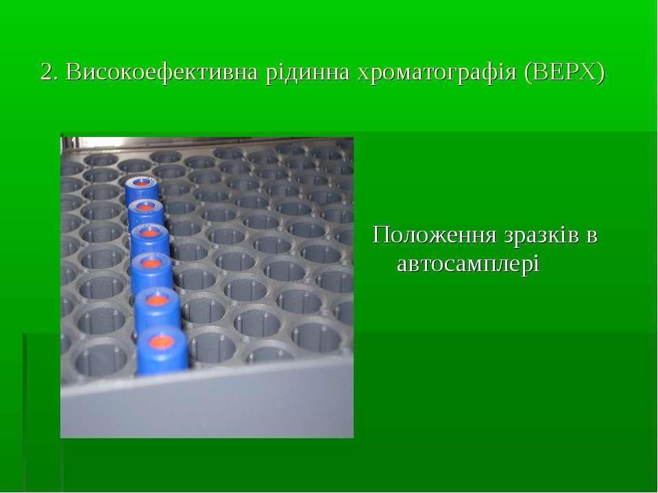2. Високоефективна рідинна хроматографія (ВЕРХ) Положення зразків в автосамплері